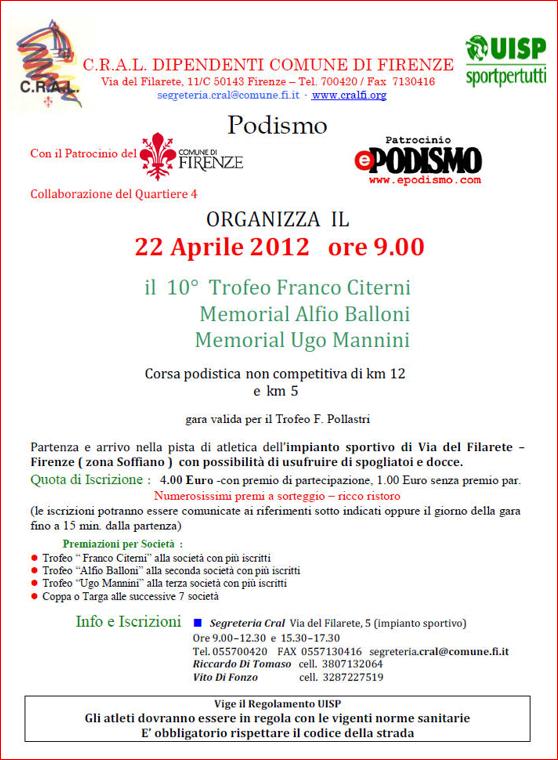 Calendario Podistico Toscana.Podismo In Toscana Calendario Gare Aprile 2012